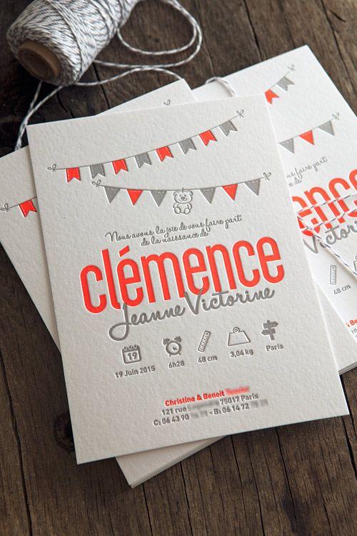 #LoveLetterpress Faire-part de naissance Clémence pantone fluo 805 et gris / letterpress birth announcement in neon pantone 805 printed by Cocorico Letterpress