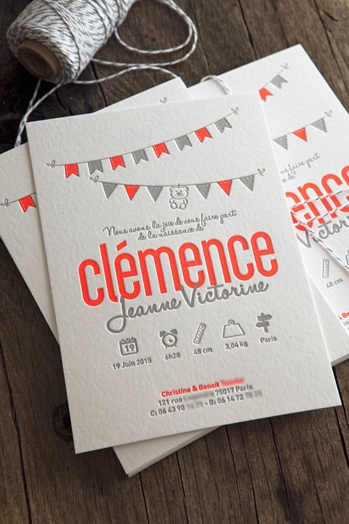 Faire-part de naissance Clémence pantone fluo 805 et gris / letterpress birth announcement in neon pantone 805 printed by Cocorico Letterpress