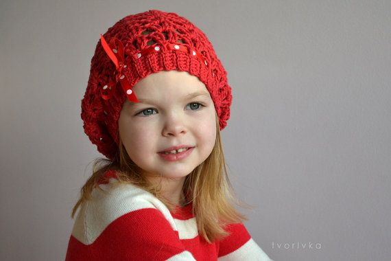Crochet pattern  spring slouchy hat for girls and by tvorIvka