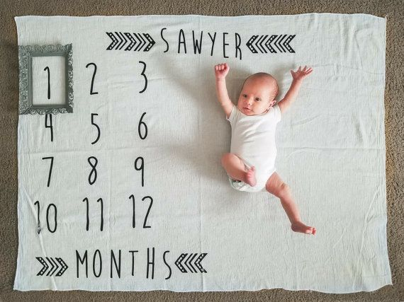 Cute milestone blanket for your baby. Made with muslin fabric and permanent heat…