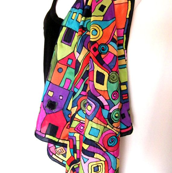Hand Painted Silk Scarf Square Multicolor Black by silkshop, $120.00