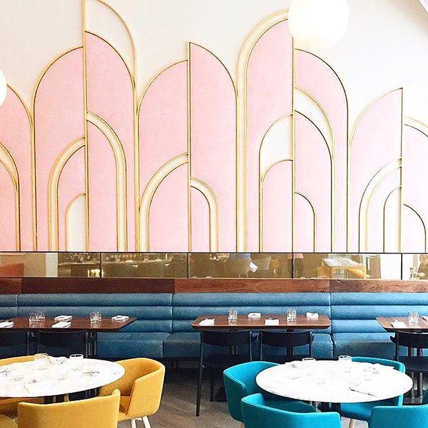 The colors in Toronto restaurant Oretta are reminiscent of an Italian sunset over the Amalfi coast.