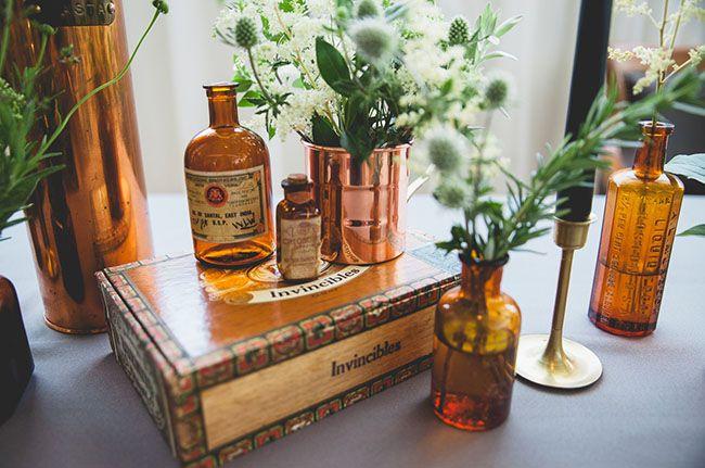 vintage bottle bud vases + cigar boxes  |  green wedding shoes blog  |  bramble floral deisgn