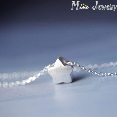 Caiga el envío 925 Collar de cadena de plata con estrella colgante Collar de Collar mujeres joyería Collar Colar