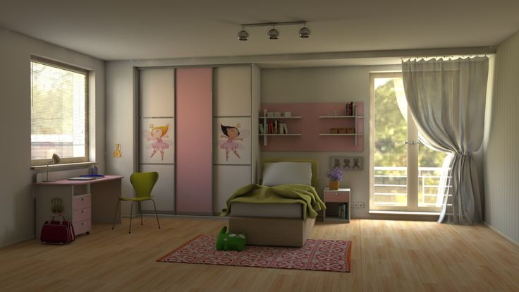 Children´s room for girls. Furniture made to measure. Atmosphere is completed with a wallpaper with a fairy- tale theme and a white-pink color on the furniture.