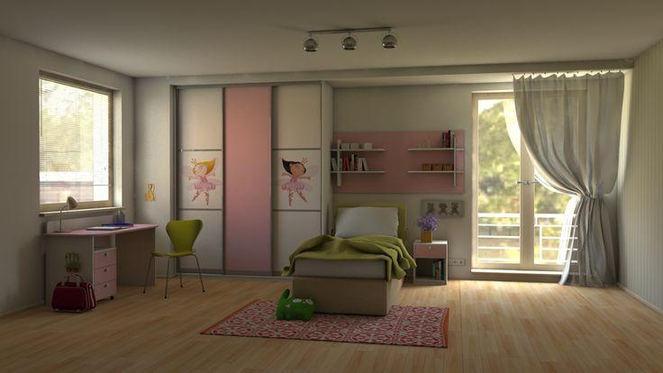 Dievčenská detská izba na mieru. Atmosféru dotvára fototapeta s motívom rozprávkových víl a bielo-ružová farba na nábytku.