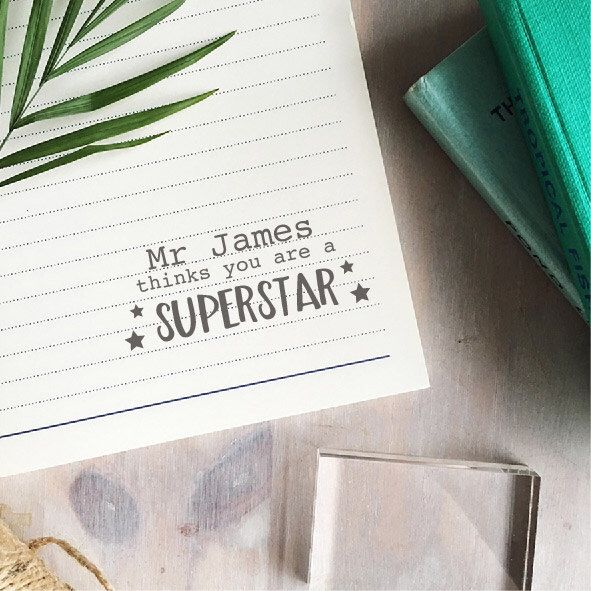 Superstar Teacher Stamp - Custom Teacher Stamp - Gift For Teacher - Personalised Book Stamp by ClariseCrafts on Etsy https://www.etsy.com/uk/listing/278558646/superstar-teacher-stamp-custom-teacher