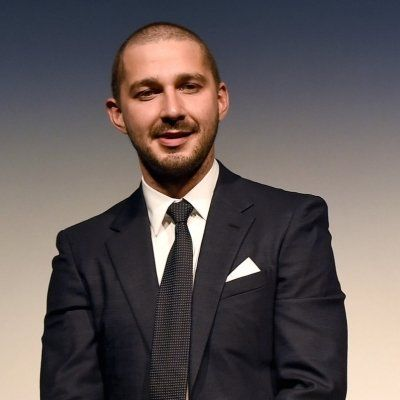 Shia LaBeouf in a crew cut, he has a beard