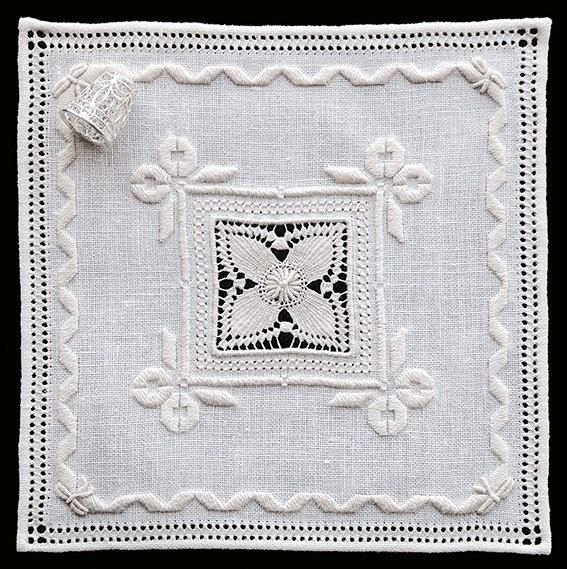 'Cutwork Mat' is a beautiful square embroidery project teaching drawn thread, needle weaving and counted satin stitch. ~ Intermediate/Advanced workshop project by Italian needlelace expert Patricia Girolami