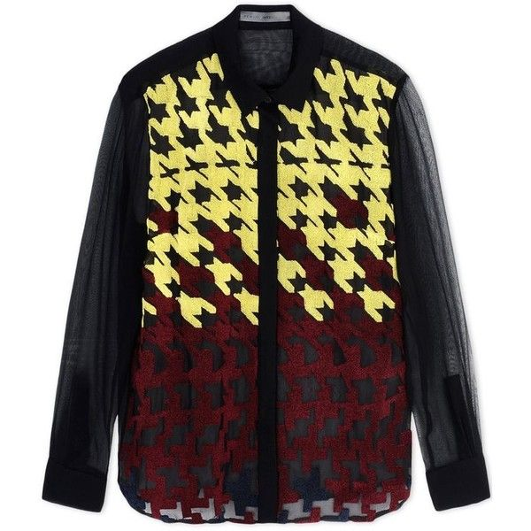 Mary Katrantzou Silk Houndstooth Shirt ($1,038) ❤ liked on Polyvore featuring tops, black, pattern shirts, houndstooth top, houndstooth shirt, button front shirt and long sleeve tops