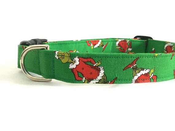 Let your pet be a Grinch this Christmas season, because in the end he turns out to be a good guy anyways.  Picture is of a large collar. Collar may be slightly different than what is pictured above.  Prices for different sizes of collars: Small $10.00 Medium $12.00 Large $14.00 XLarge $15.00  Finished Collar length size: Small 10-15 Dachshunds, toy poodles Medium 12-19 Terriers, Schnauzers Large 15-23 Labs, Shepards, Retriever XLarge 17-29 St. Bernards, Dogs with large necks  Finished Collar…