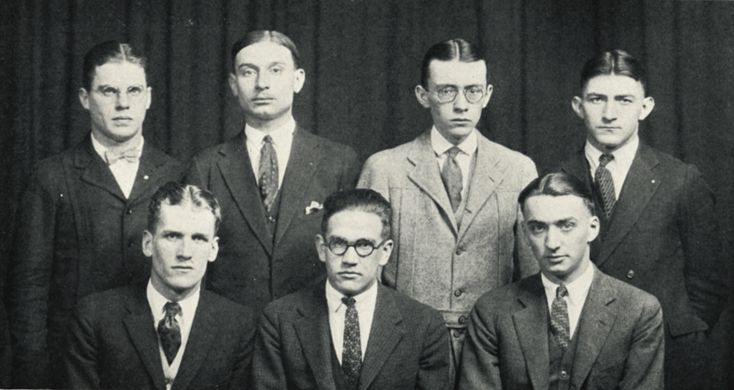 1920s Mens Hairstyles and Products History. The Forestry Student Council of Syracuse University 1925 sporting the typical slicked back styles of 1920s mens haircuts.