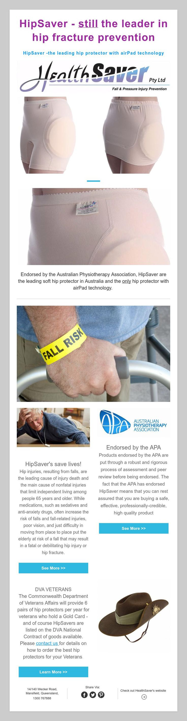 HipSaver - stillthe leader in hip fracture prevention  HipSaver -the leading hip protector with airPad technology