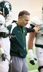 The Michigan State football team held its third practice of the spring and the first in full pads with a two-and-a-half-hour workout Friday afternoon inside the Duffy Daugherty Building. Following practice, Spartan head coach Mark Dantonio said he was pleased with his team during the first week of spring ball.
