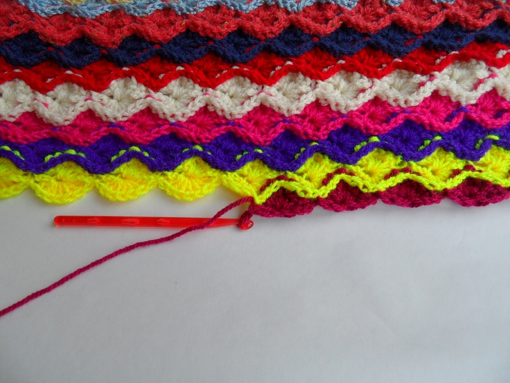 Multicoloured crocheted throw, single bed size, Catherine Wheel stitch