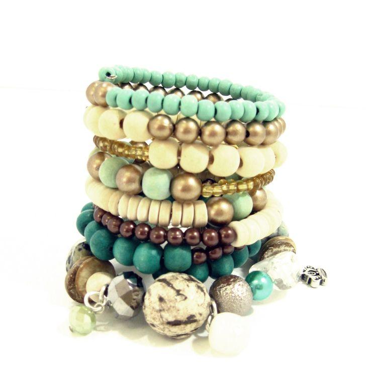 Bracelet Stack Aqua,Mint, Cream and Bronze