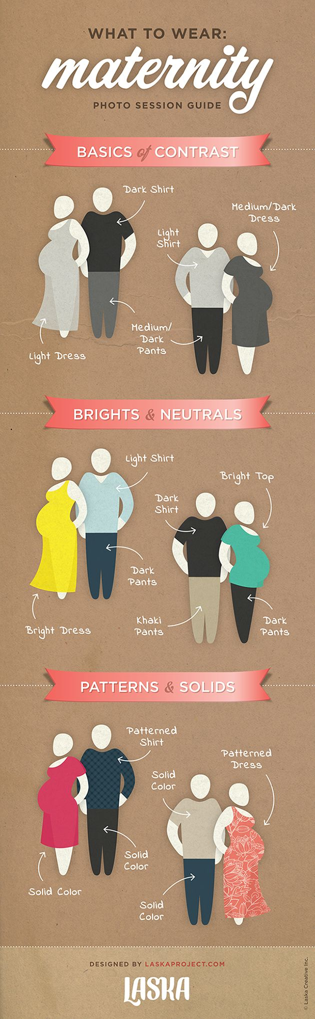 What to Wear to a Maternity Photo Session. Designed by laskaproject.com #maternity #fashion #momy #couple #photoshoot #photography #howto #guide #outfit #infographic #illustration #pregnancy #clothes #pairing #laska #laskaproject #100repins #200repins
