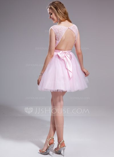 A-Line/Princess Scoop Neck Short/Mini Tulle Charmeuse Lace Prom Dress With Ruffle Beading Sequins Bow(s) (018025270)