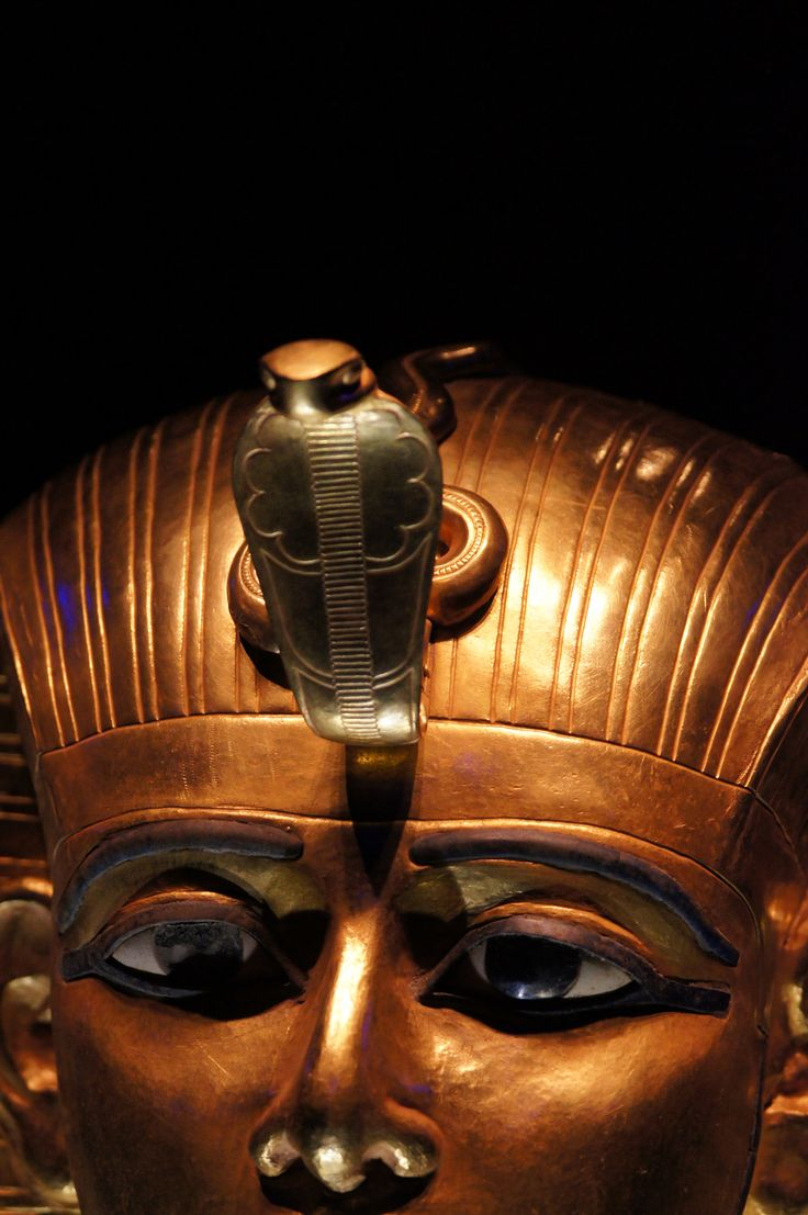 Golden Mask of Psusennes I | Gold, Lapis Lazuli, Glass.Detail  Tanis, 3rd Intermediate Period, 21st Dynasty, 1047 – 1001 BC.  This golden mask lay over the head, chest, and part of the shoulders of the mummy of Psusennes, as a  layer of protection. The royal headdress with ureaus and the divine false beard he wears indicates his royal and godly status. The use of gold, considered the flesh of the gods, reaffirming his davinity in the afterlife.  He was the son of Pinedje...