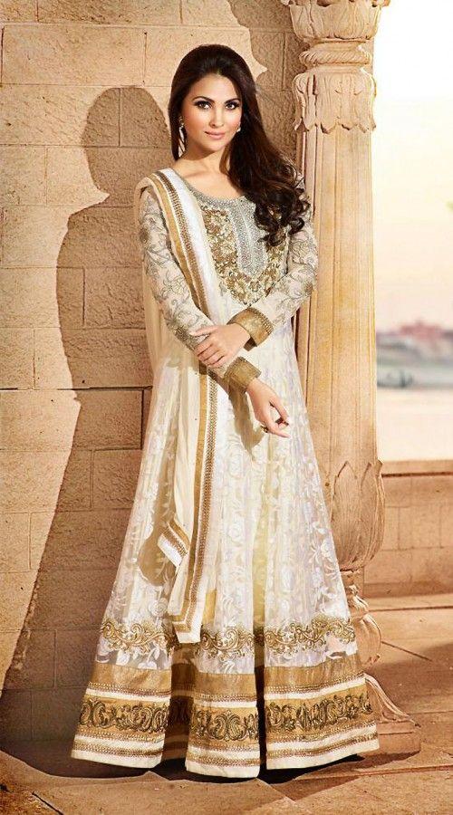 Lara Dutta In Cream Floor Length Anarkali Suit 3H50105