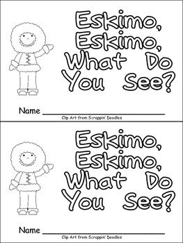 """This emergent reader little book is a great way to practice reading with young students, while capturing their interest in the Arctic and Arctic animals!   This story uses a predictable pattern, """"Eskimo, eskimo, what do you see?"""" to support emerging readers. This story includes several Arctic vocabulary words, such as eskimo, caribou, fox, walrus, whale, polar bear, and igloo."""