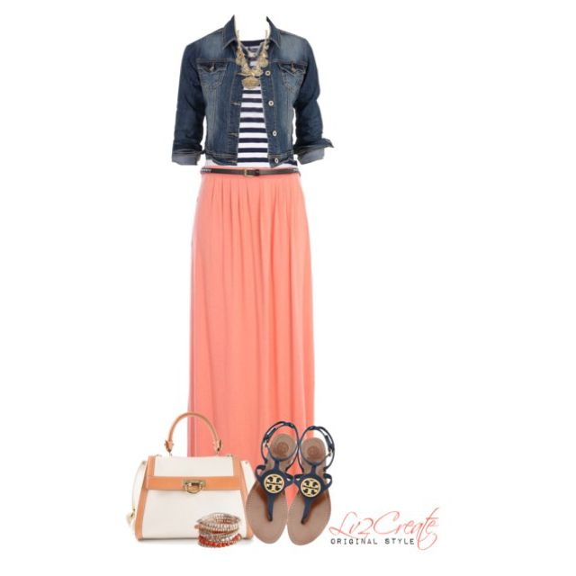 Beachy Coral with Navy by lv2create - if only jean jackets looked good on me...