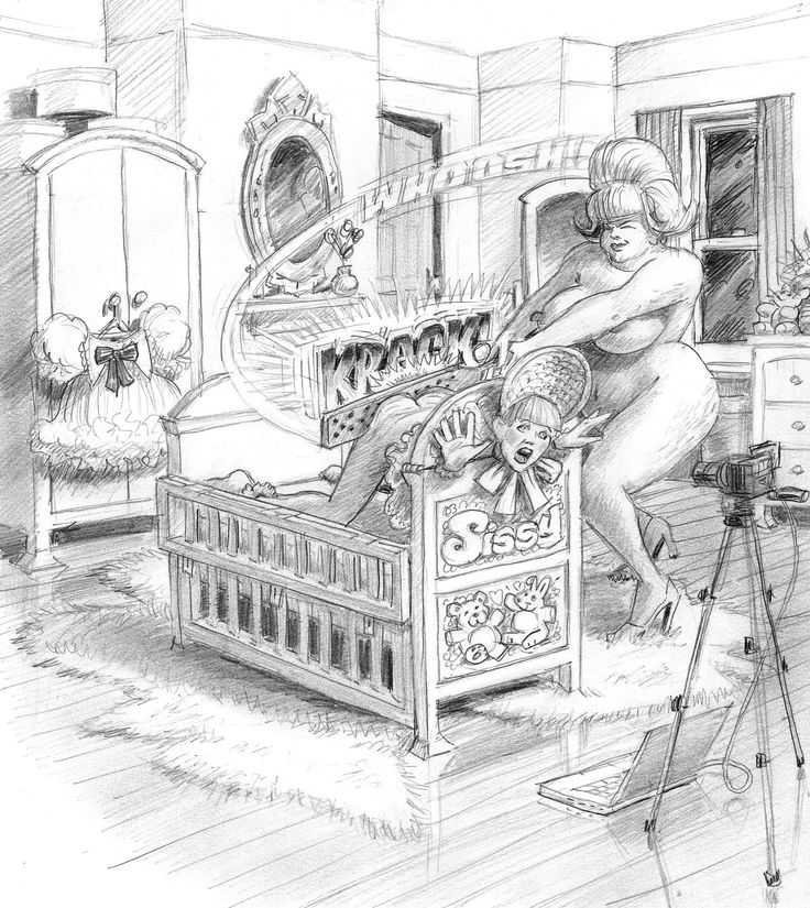 An illustration of the punishment meted out to a Sissy who had the temerity to object to his wife going out for an evening's fun. His mother-in-law has, as usual, been left in charge and she is furious that Sissy has whimpered that he doesn't like his wife having casual sex with other men. Once secured into the stocks mother-in-law stripped to enhance the power of her swing then removed his dress and frilly panties. The completed video will be posted to her daughter's 'phone. Text by Fiona P