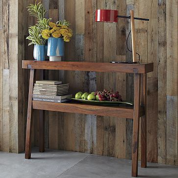 """Rustic Acacia Console #WilliamsSonoma  I was thinking maybe baskets underneath, kind of """"resting"""" diagonally on the wall"""