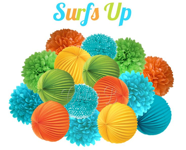 SURFS UP Deluxe Party Decorations - Accordion Lantern & Tissue Pom Kit - Lime Green, Aqua Blue, Yellow, Orange - Birthday Party, Swim Party by ChrissyBPartyShop on Etsy https://www.etsy.com/listing/243495936/surfs-up-deluxe-party-decorations