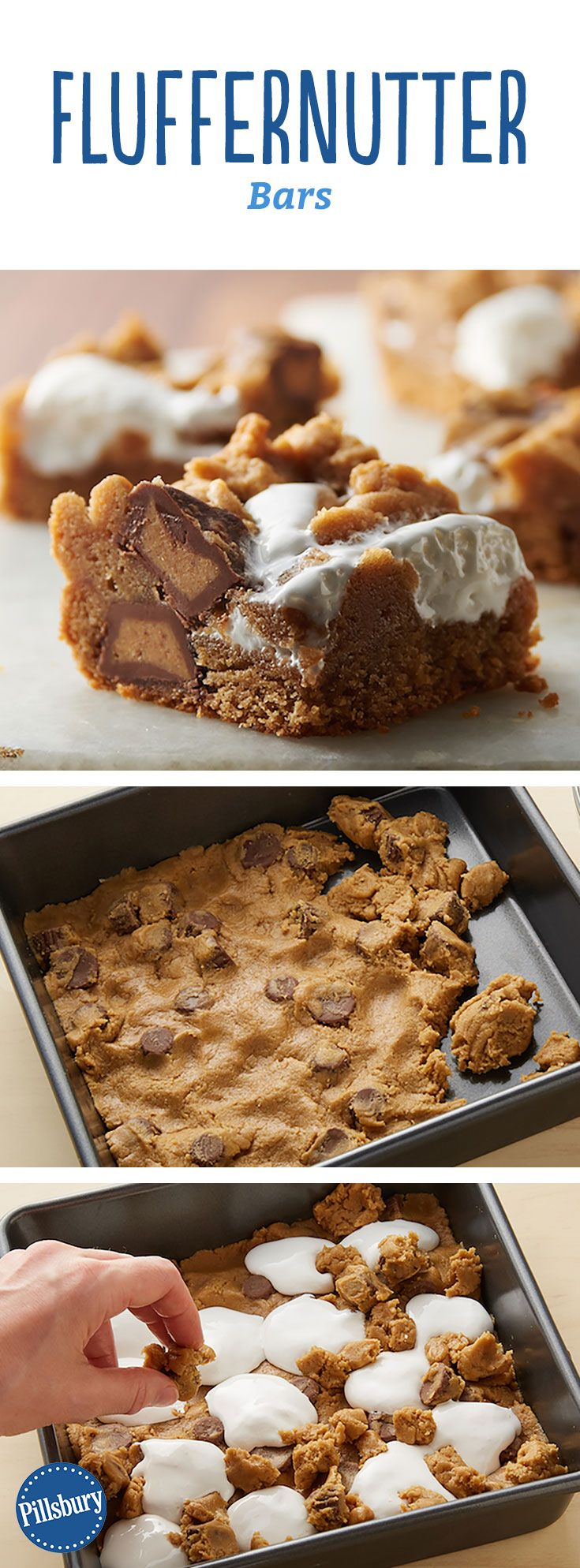 Fluffernutter Bars: Marshmallow and peanut butter come together in these gooey, indulgent bars.