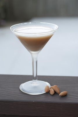 Almond Biscotti Martini using vodka, amaretto and coffee liqueur. Make it even more almondy (and lactose free) by substituting the milk for Unsweetened Almond Breeze.