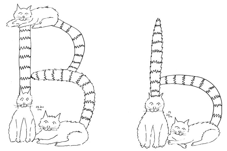 Letter B Cats Tails #colouringInAsTherapy black n white monochrome - Digital Download .jpeg .jpg by MrSquimpsCatShop on Etsy