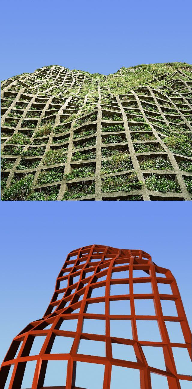 La de abajo es un ejercicio de modelación paramétrica del año 2010, la de arriba es la fachada de un edificio que encontré navegando por la web ...3 años después. :)