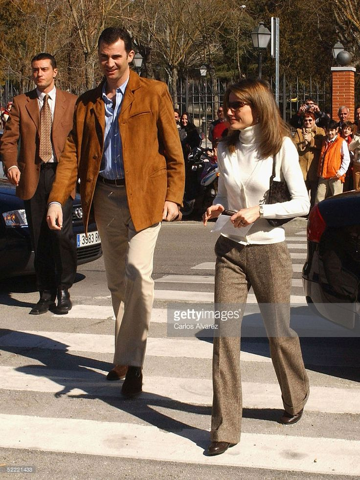 Spanish royalty, Crown Prince Felipe and Princess Letizia, arrive to vote in the European Constitution referendum at 'Monte de el Pardo' school on February 20, 2005 in El Pardo, Madrid, Spain.