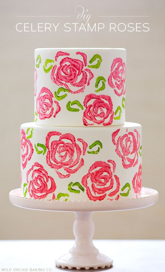 Amazing cake with DIY celery stamp roses