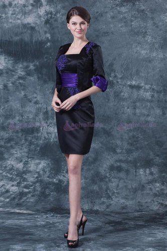 Vestido de noite curto bicolor decote quadrado em cetim - http://www.anoivalinda.com/vestido-de-noite-curto-bicolor-decote-quadrado-em-cetim-wmcf0019