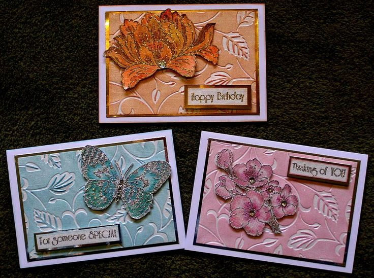 3 Embossed background pastel Butterfly & Flower cards.