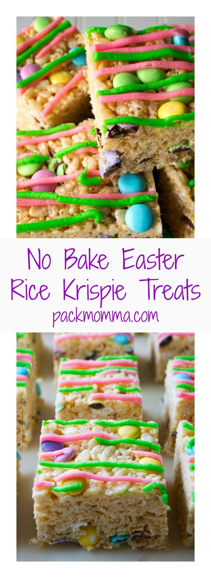 No-Bake Easter Rice Krispie Treats | No-Bake Easter Rice Krispie Treats are the perfect dessert to celebrate Springtime. Adorable, delicious and easy to make, these are the perfect sweet | Pack Momma | http://www.packmomma.com