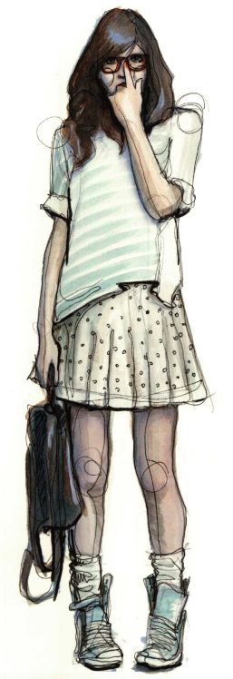 NerdNerd Outfit, Casual Style, Geek Girls, Art, Nerd Girls, Colors Pencil, Fashion Illustration, Sketches, Pencil Drawing