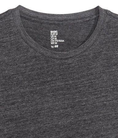 Sortmeleret. CONSCIOUS. Rundhalset T-shirt i jersey af økologisk bomuldsblanding.