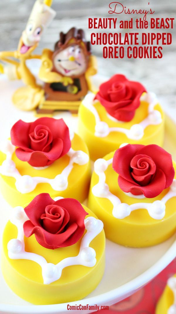 Disney's Beauty and the Beast Party Idea: Chocolate Dipped Oreo Cookies! Easy to make and perfect for movie night too! You'll need just 6 supplies: OREO Cookies, OREO mold, candy melts, sugar pearls, white icing, and red rose cake decorations.