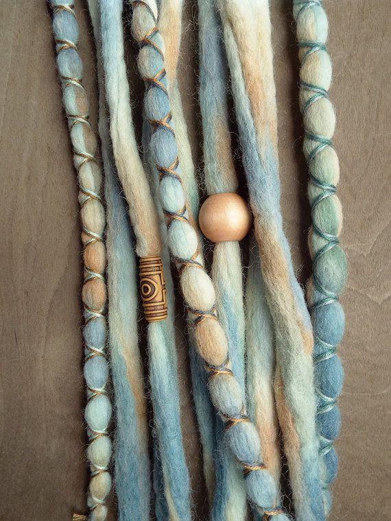 10pc Seaside Custom Order Tie-Dye Beaded Wool Dreads Bohemian Hippie Dreadlocks Tribal Synthetic Boho Extensions