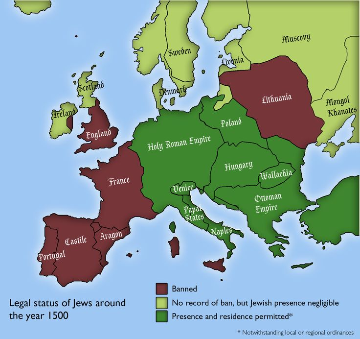 European countries where Jews were allowed to exist in 1500