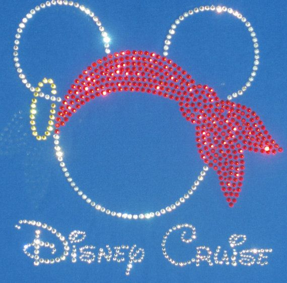 "9.3""  Disney Cruise Pirate Mickey Minnie iron on rhinestone clear/red TRANSFER. $10.50, via Etsy.  Perfect for pirate night on the cruise!"