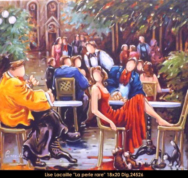 Lise Lacaille original oil painting on canvas #liselacaille #art #artist #canadianartist #quebecartist #fineart #figurativeart #originalpainting #oilpainting #CanadianArt #woman #bistro #multiartltee #balcondart