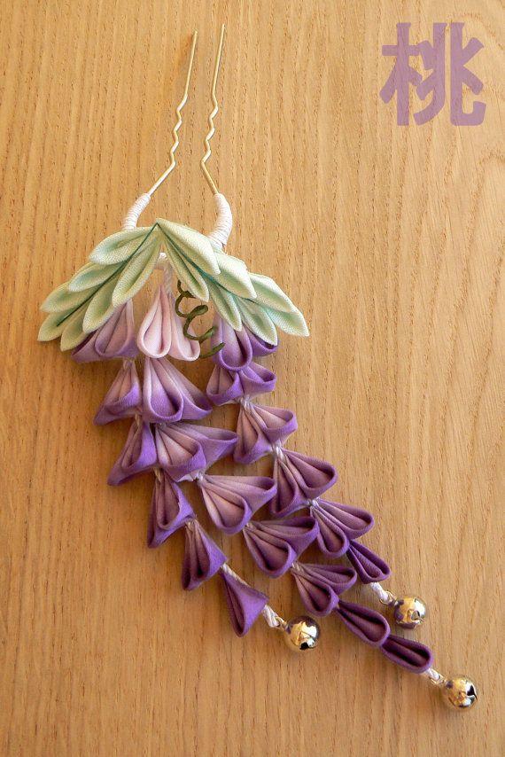 Monthly Hana Kanzashi. May: dangling Wisteria, floral hair accessory. Fuji…