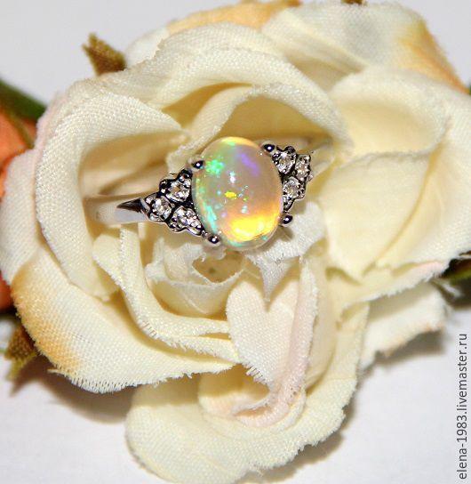Кольца ручной работы. Ярмарка Мастеров - ручная работа. Купить Серебряное кольцо (925) с эфиопским опалом. Handmade. Комбинированный, украшения