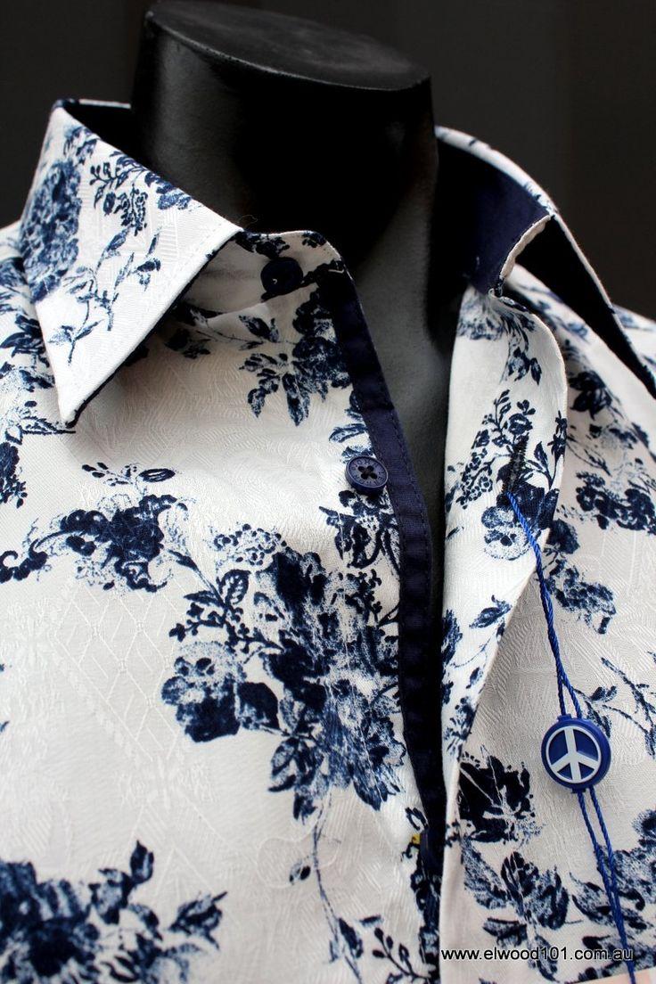 english laundry - John Lennon Get Back Shirt White Navy Rose
