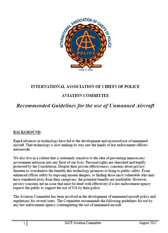 International Association of Chiefs of Police Recommended Guidelines for Using Drones