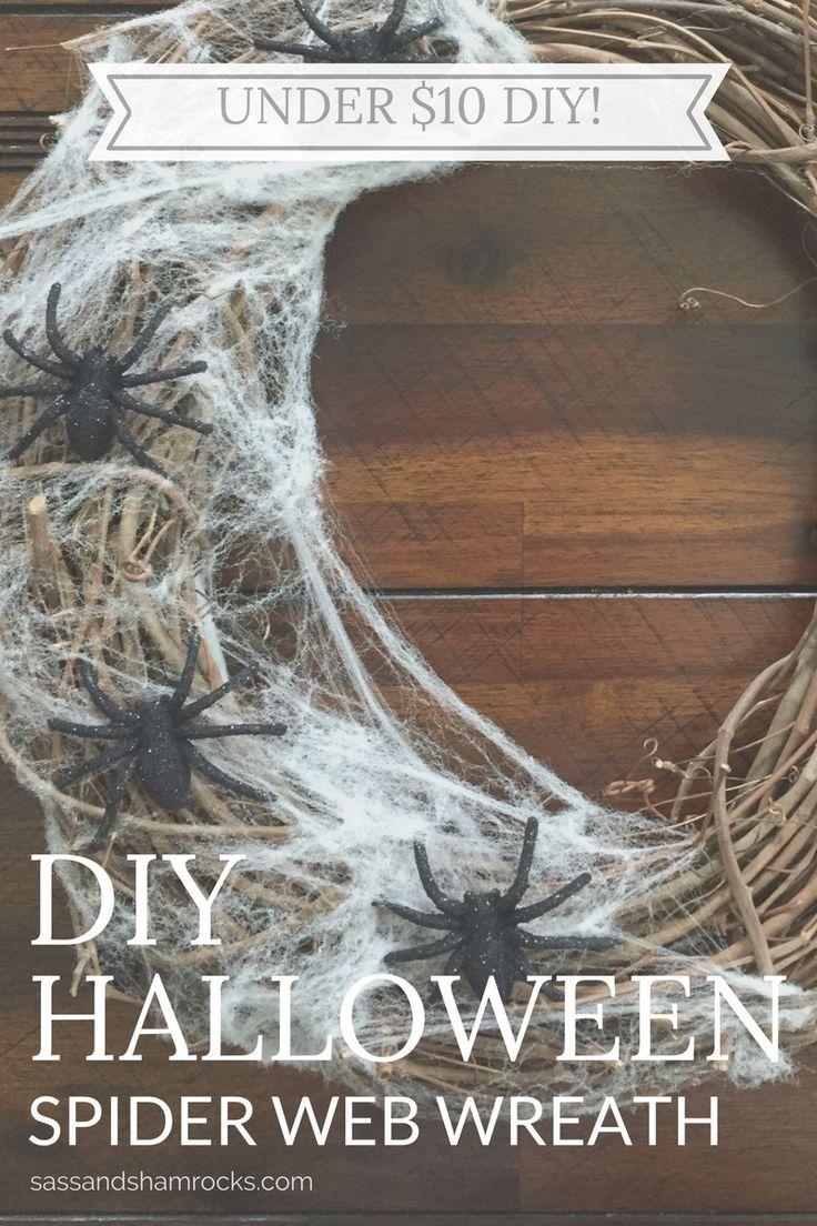 A cute spider web wreath for easy Halloween decor